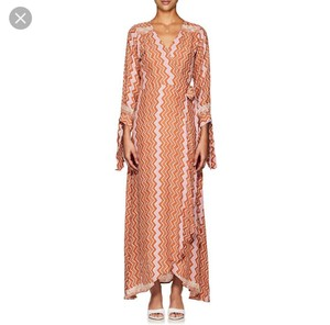 burnt orange/tan and pink pattern Maxi Dress by Natalie Martin