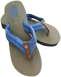 Tory Burch Blue and tan Sandals