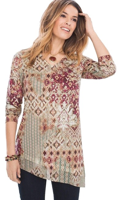 Item - Multi-colored Sleeve Asymmetrical Patch Paisley Tunic Size 12 (L)