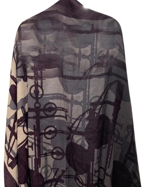 Hermès Black Creme Burgundy Multiple Silk Cashmere Scarf\shawl\wrap - You Can Wear This In Scarf/Wrap Hermès Black Creme Burgundy Multiple Silk Cashmere Scarf\shawl\wrap - You Can Wear This In Scarf/Wrap Image 1