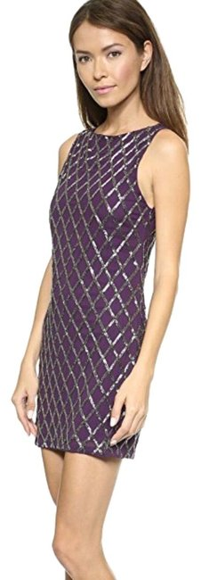 Alice + Olivia Purple and Silver (Galaxy/Gunmetal) Dalyla Beaded A-line Short Night Out Dress Size 0 (XS) Alice + Olivia Purple and Silver (Galaxy/Gunmetal) Dalyla Beaded A-line Short Night Out Dress Size 0 (XS) Image 1