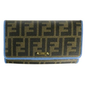Fendi Wallet Brown Continental Blue Trim & Interior FF Logo Canvas Leather