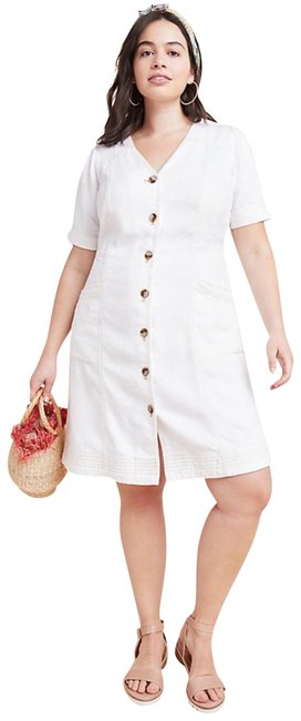 Item - White Pilcro Button-front Jean Short Casual Dress Size 22 (Plus 2x)