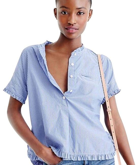 Item - Blue/White Striped Popover with Ruffle Trim Blouse Size 0 (XS)
