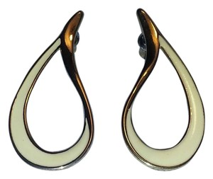 Vintage Stunning Vintage Ivory Enamel & Gold Teardrop Earrings for Pierced Ears