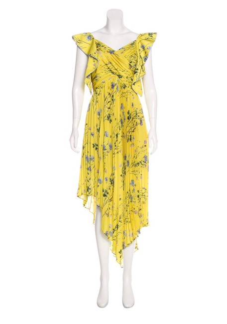 Item - Yellow Pleated Asymmetric Floral Mid-length Cocktail Dress Size 8 (M)