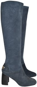 Tory Burch Riding Moto Biker BLUE SUEDE Boots