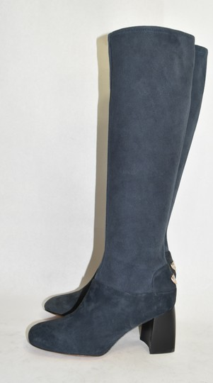 Tory Burch Riding Moto Biker BLUE SUEDE Boots Image 1