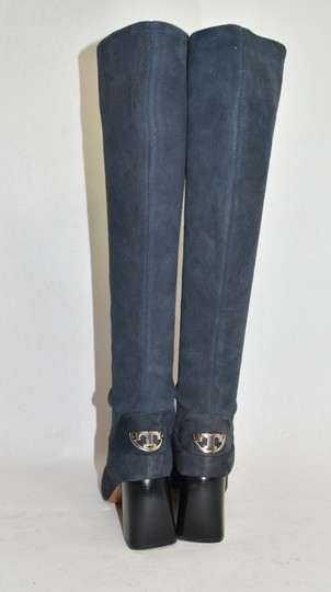 Tory Burch Riding Moto Biker BLUE SUEDE Boots Image 4