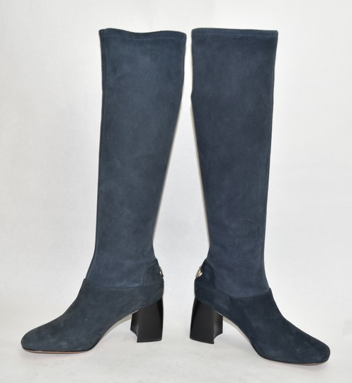 Tory Burch Riding Moto Biker BLUE SUEDE Boots Image 5
