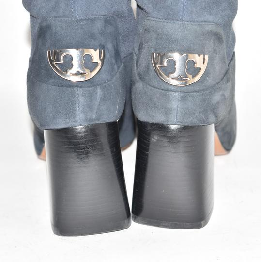 Tory Burch Riding Moto Biker BLUE SUEDE Boots Image 9