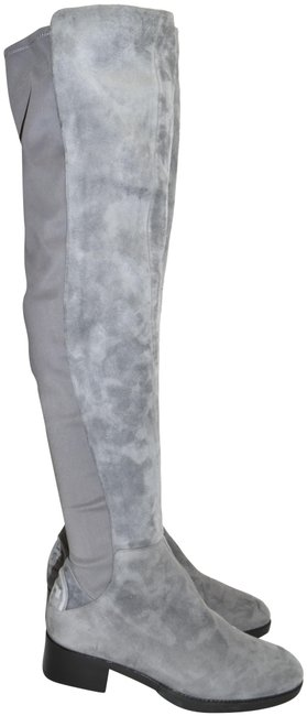 Item - Gray Suede Caitlin Over The Knee Embossed Log0 (1) M30 Boots/Booties Size US 6.5 Regular (M, B)