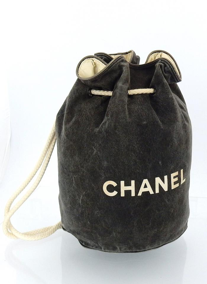 wide selection of colours and designs shoes for cheap new lifestyle Chanel Drawstring Bucket Rope Sling Gray Canvas Shoulder Bag