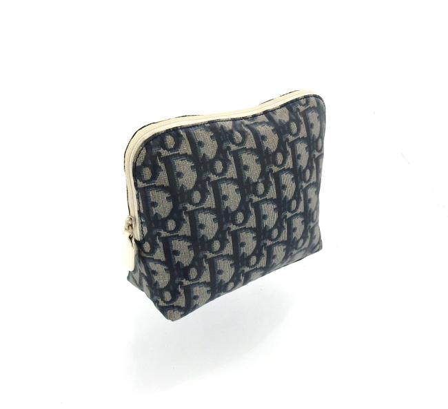 Item - Blue Trotter Monogram Nylon Leather Travel Pouch Cosmetic Bag