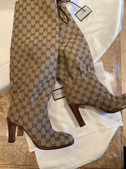 Gucci Brown Beige Boots Image 3