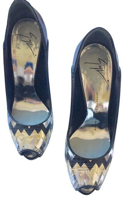 Item - Black with Gold and Silver Open Pumps Size EU 37 (Approx. US 7) Regular (M, B)