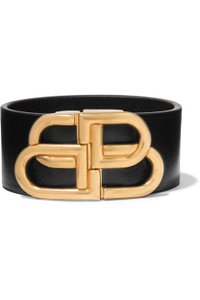 Balenciaga BB logo leather bracelet