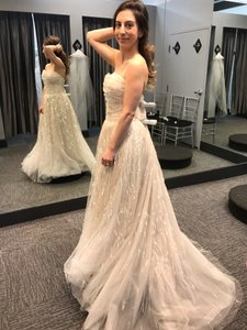 Amsale Champagne Tulle Gown Formal Wedding Dress Size 4 (S)