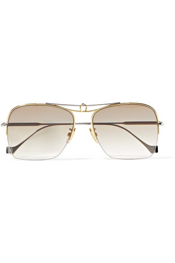 Loewe Aviator-style silver and gold-tone sunglasses Image 1