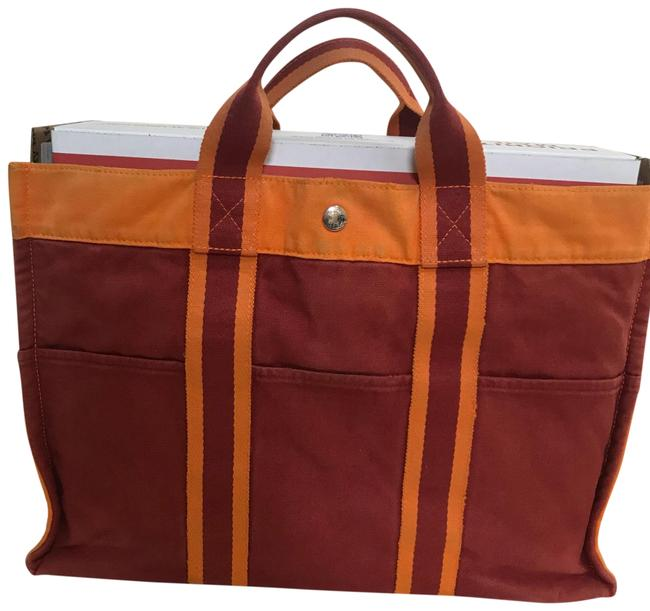 Item - Fourre Tout Herline Fourre Tout/Herline Limited Edition Mm Red Orange Cotton Tote
