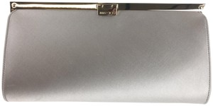 Jimmy Choo Satin Hardware Silver Clutch