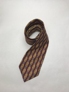 Dior Red and Yellow Christian with Scarf Print Silk Tie/Bowtie