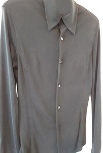 Adec 2 Silk Longsleeve Size 4 Made In China Button Down Shirt Black