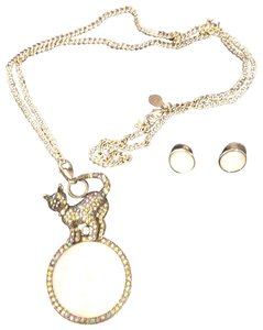 Kirks Folly cat and moon necklace and earrings