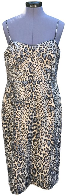 Item - Gray/Silver Strapless Metallic Leopard Spot Party Mid-length Night Out Dress Size 14 (L)