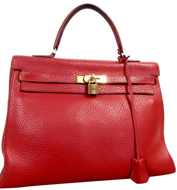 Item - Kelly Red Leather Satchel