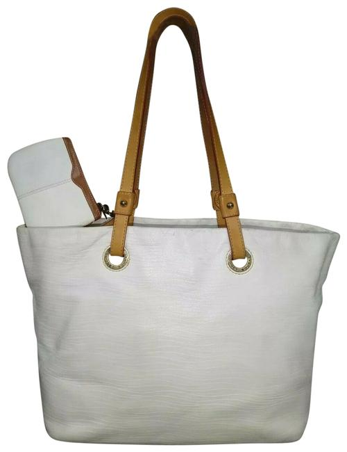Item - Large Removable Top with Wristlet White Leather Tote