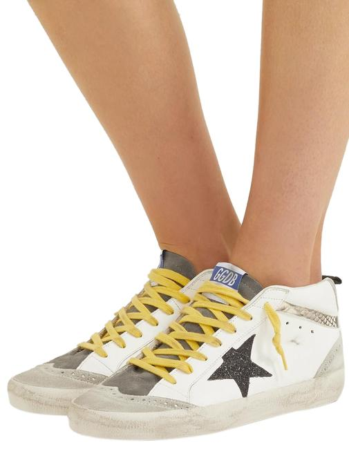 Item - Mid Star Distressed Glittered and Snake-effect Leather and Suede Sneak Sneakers Size EU 37 (Approx. US 7) Regular (M, B)
