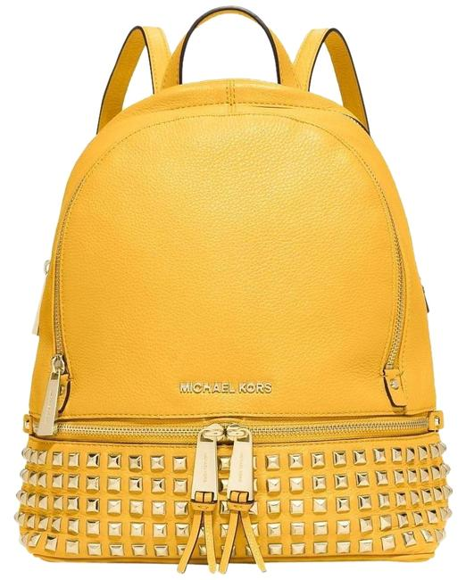 Item - Small Rhea Zip' Studded Yellow Leather Backpack