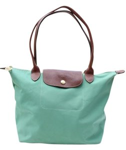 Longchamp Tote in mint green, brown