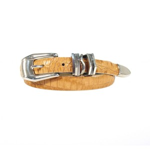 "B.B. Simon B.B. SIMON Slim Tan Croc Leather Belt Style #1217 Women's S (28""-32"")"