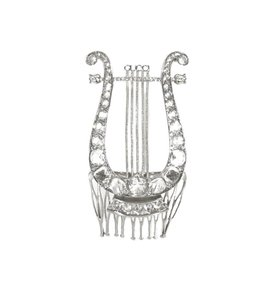 Gucci NEW GUCCI 504285 Crystal Lyre Metal Hair Comb