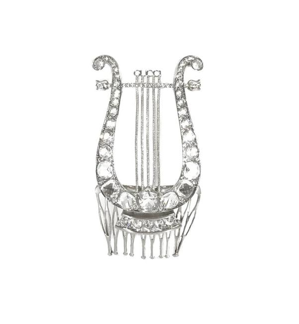 Item - Silver New 504285 Crystal Lyre Metal Comb Hair Accessory
