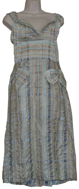 Item - Blue Beige Striped Silver Sleeveless Crinkled Chenille Bow Mid-length Short Casual Dress Size 8 (M)