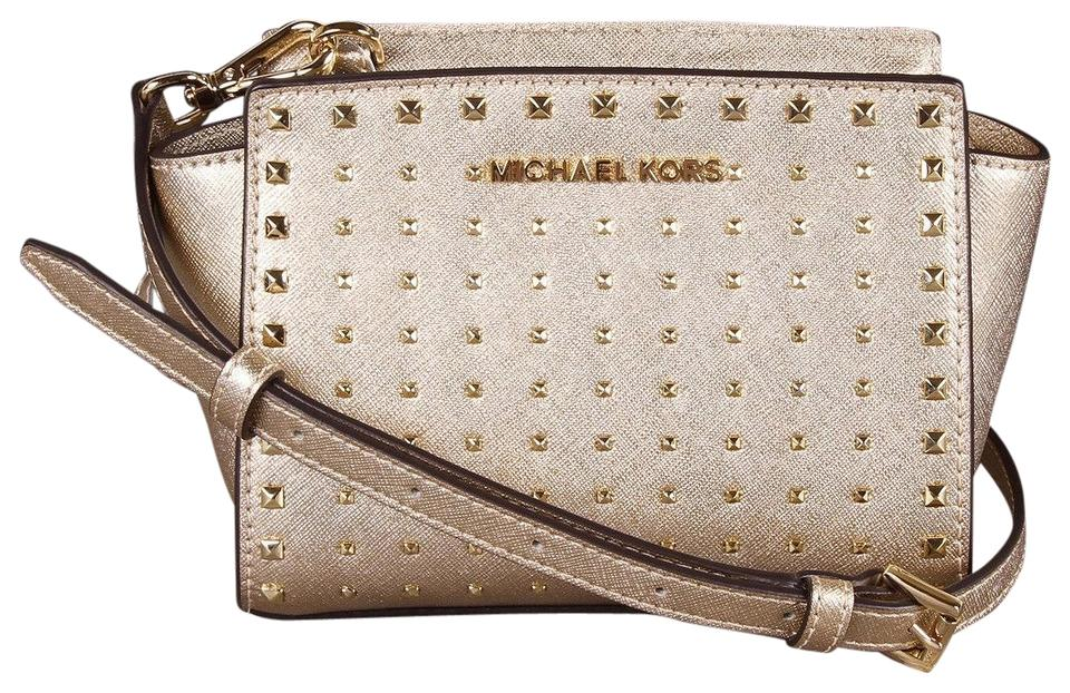 Michael Kors Selma Mini Stud Gold Leather Cross Body Bag 68