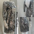 S.Y.L.K. Silver Sequin Mesh Low Back 3/4 Sleeves Mid-length Night Out Dress Size 12 (L) S.Y.L.K. Silver Sequin Mesh Low Back 3/4 Sleeves Mid-length Night Out Dress Size 12 (L) Image 5