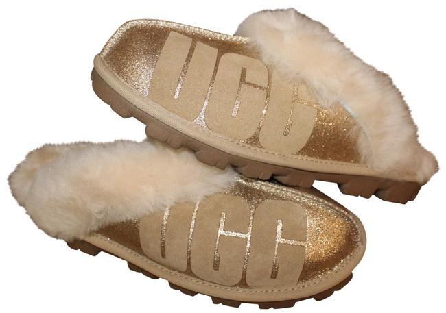 Item - Gold Coquette Sparkle Logo Shearling Slipper Flats Size US 7 Regular (M, B)