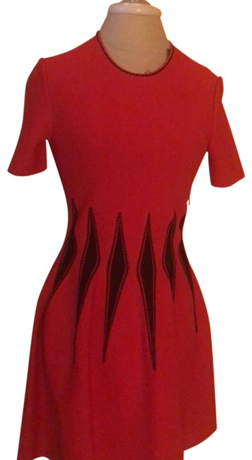 Item - Black/Red Black/Red Mid-length Cocktail Dress Size 12 (L)