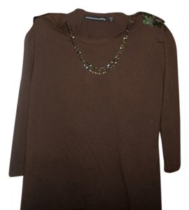 Michael Simon Triple Chain At Neck Top Brown