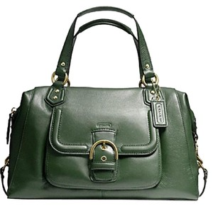 Coach Hunter Green Speedy New Genuine Leather Green Satchel in Racing Green-Gold