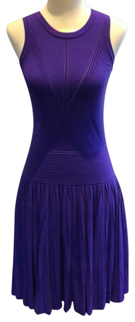 Item - Grape Josephine Pleated Viscose Blend Knit Work/Office Dress Size 8 (M)