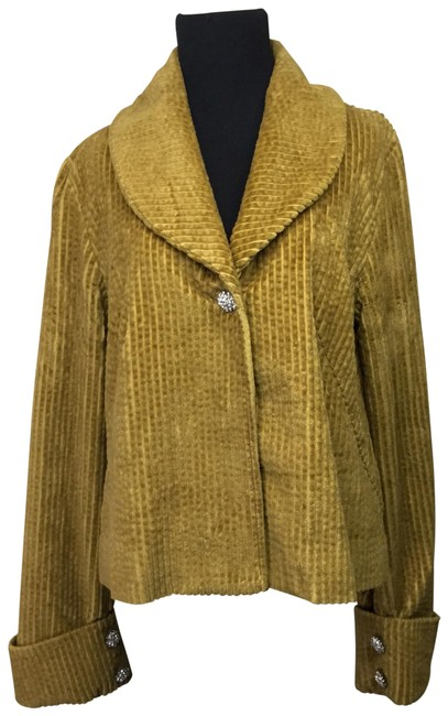 Item - Tan Camel Tulle Corduroy Jacket with Rhinestone Buttons Coat Size 16 (XL, Plus 0x)