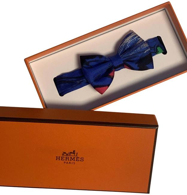Item - Blue Papillon Noeud Mini Bow Tie Silk Scarf/Wrap