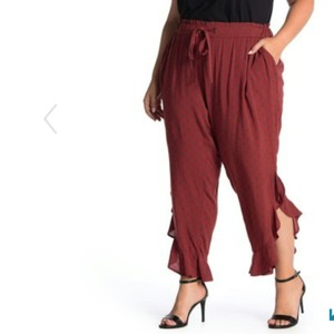 Susina Relaxed Pants Burgundy Russet Dot