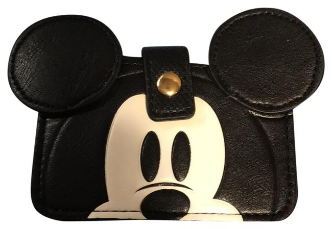 Item - Mickey Mouse 90 Anniversary Ear Wallet Black and White Man Made Wristlet