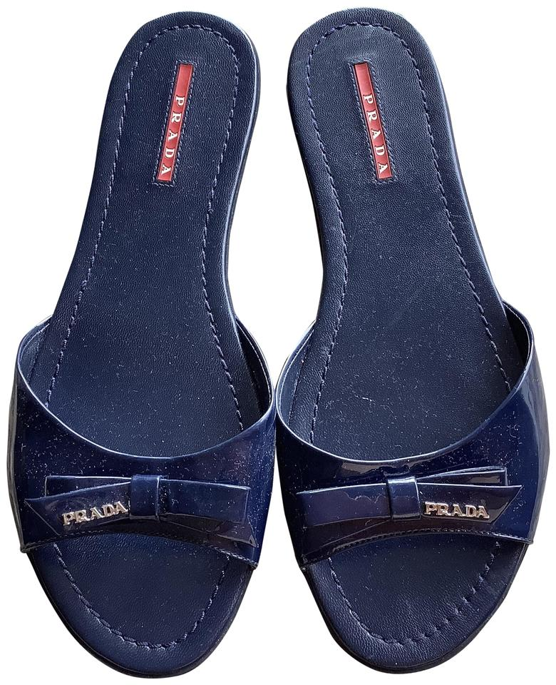 look out for sports shoes good service Prada Navy Blue Patent Leather Slides Sandals Size EU 39.5 (Approx. US 9.5)  Regular (M, B)